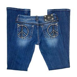Miss Me JY5091B3 Peace Back Pocket Boot Cut Jeans